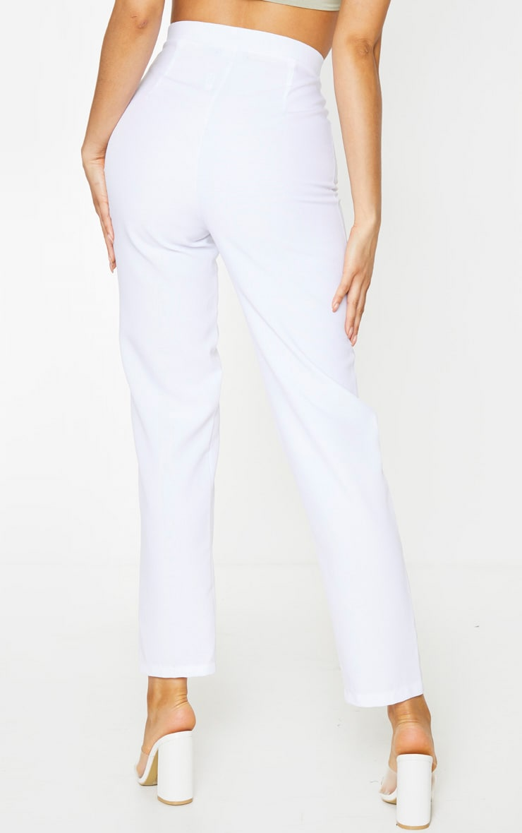 Tall White Cropped Suit Pants 3