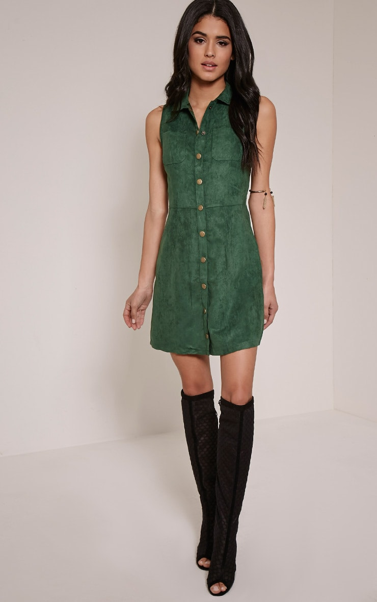 Maisy Bottle Green Button Down Faux Suede Pinafore Dress 3