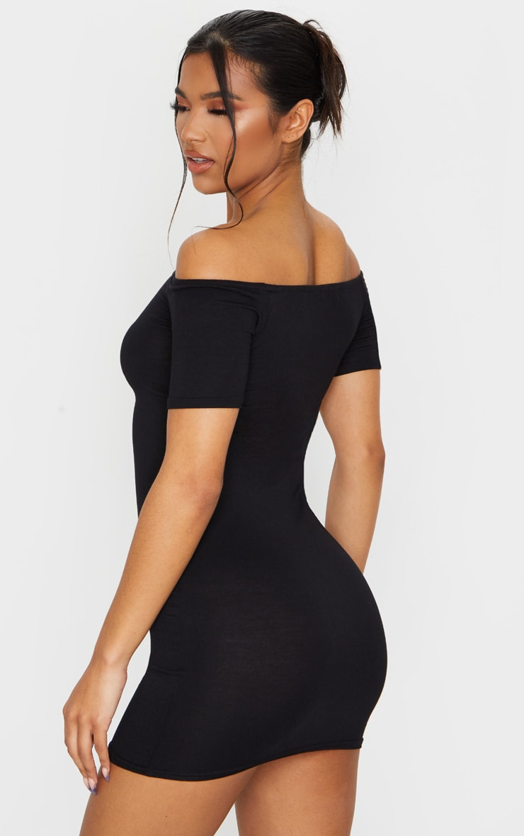 Basic Black Short Sleeve Bardot Bodycon Dress 2