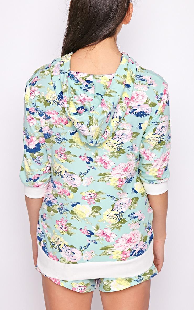 Hollie Mint Floral Hoodie  2