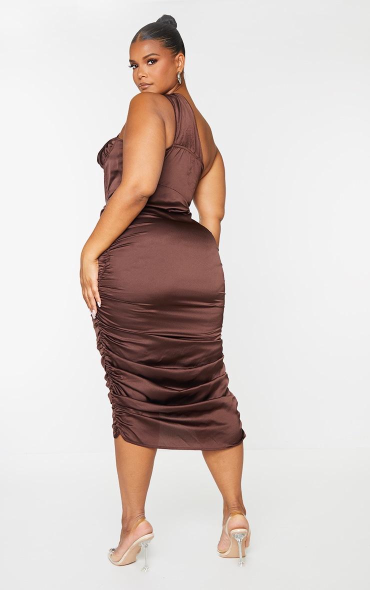 Plus Chocolate One Shoulder Corset Ruched Satin Midi Dress 2