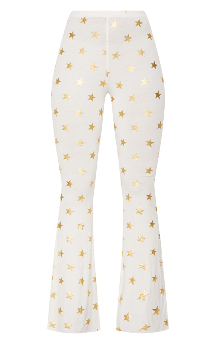 White Jersey Star Print Flared Trouser 3