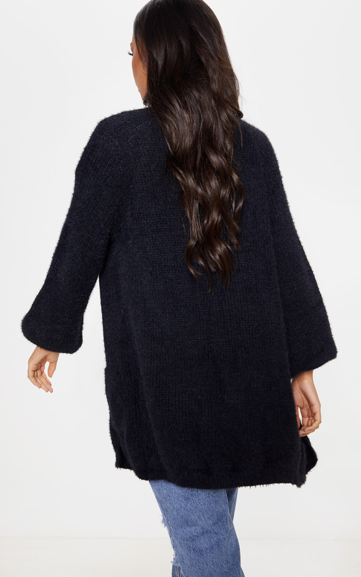 Black Fluffy Knit Oversized Cardigan 2