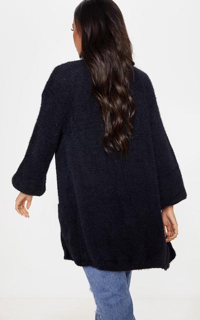 Black Fluffy Knit Oversized Cardigan