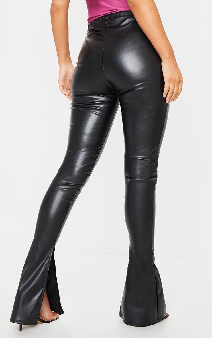 Black Kick Flare Faux Leather Leggings 3