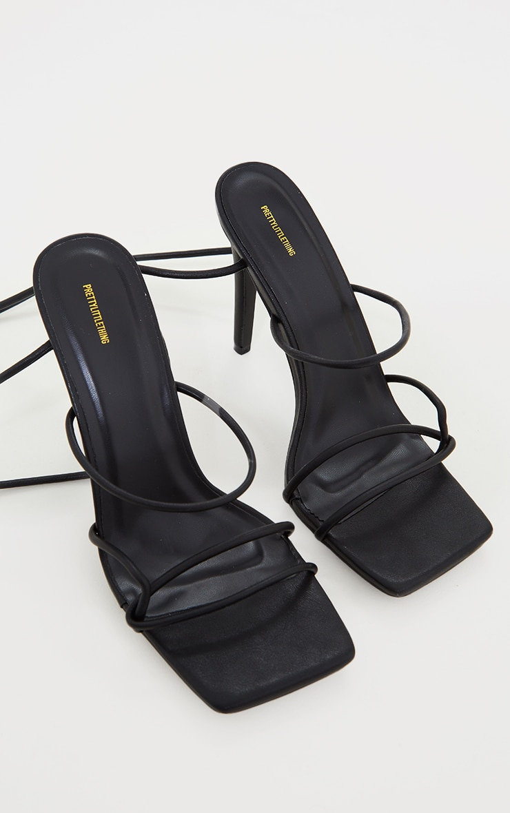 Black Wide Fit Tube Strappy Laces Up High Heels 4