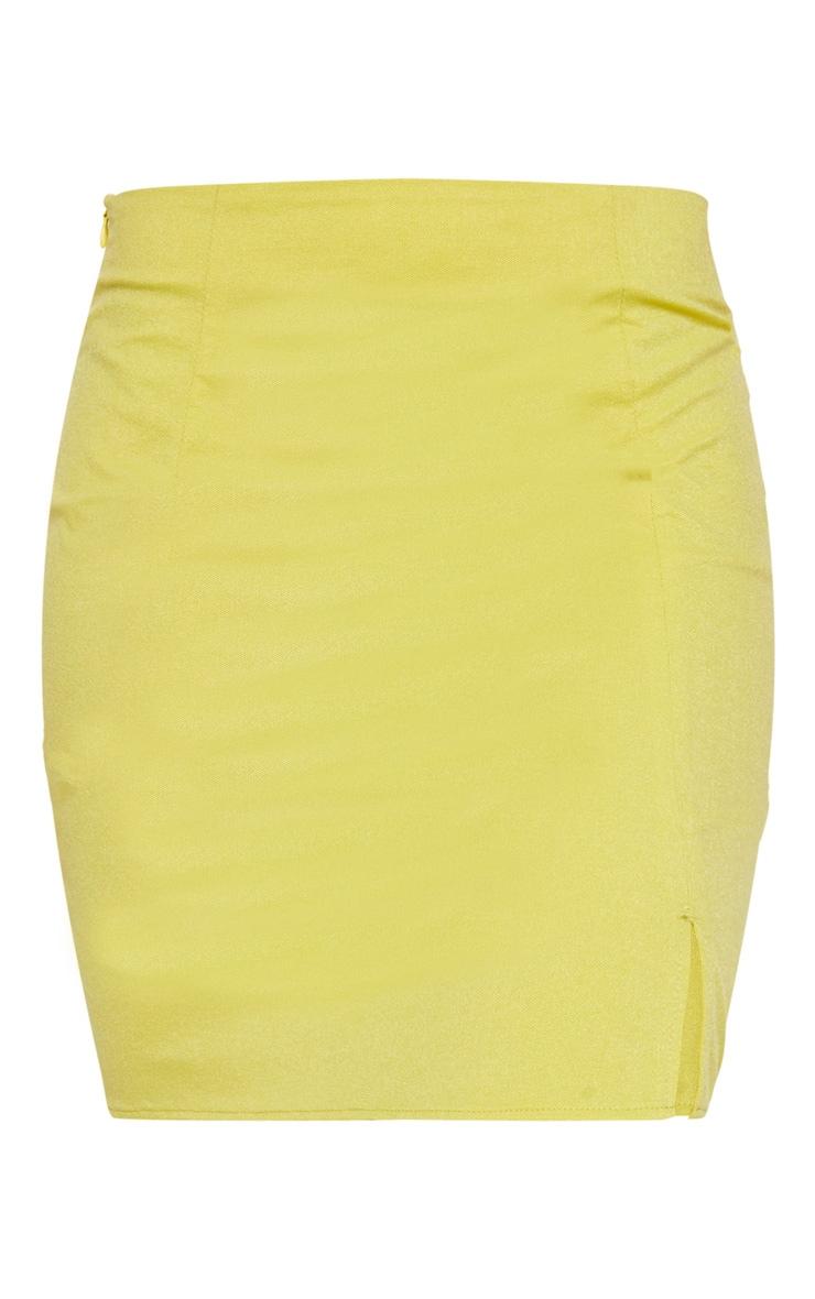 Lime Linen Feel Split Front Mini Skirt 6