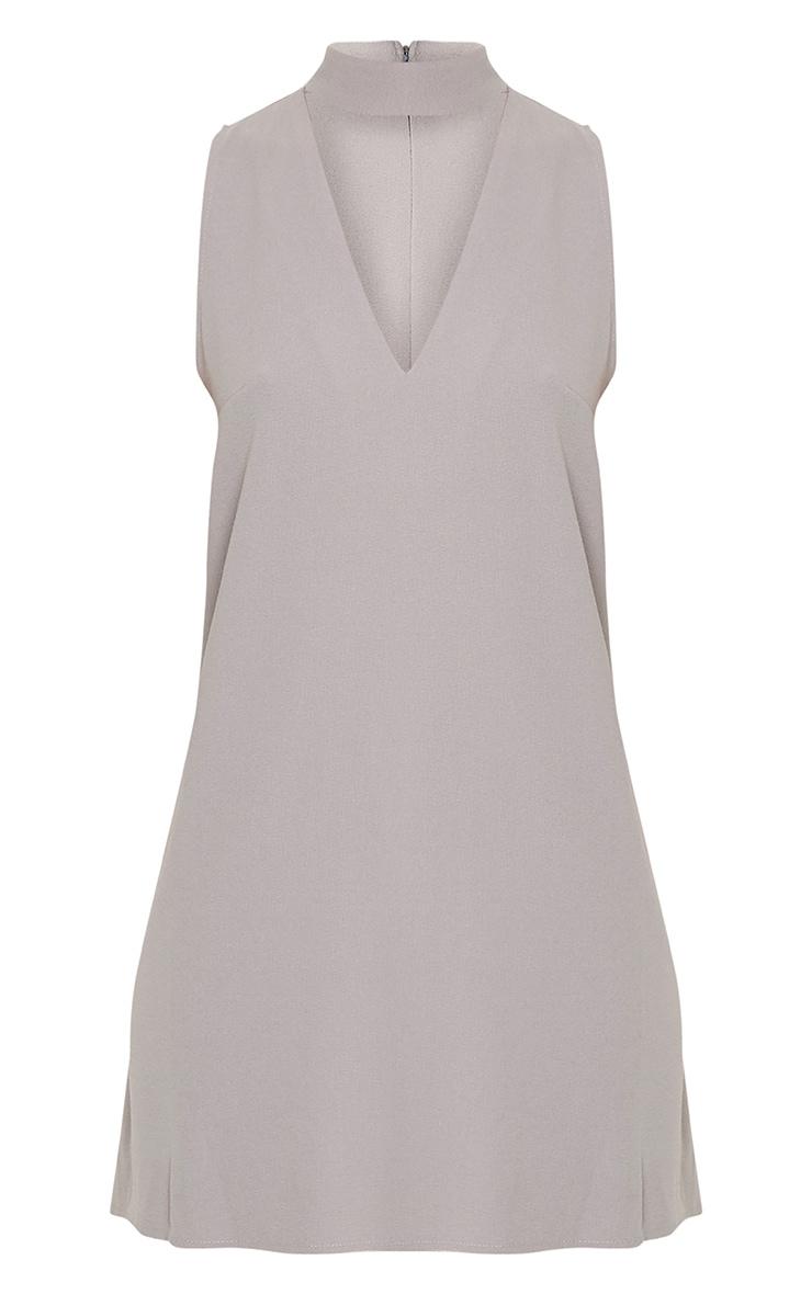 Cinder Grey Choker Detail Loose Fit Dress 3