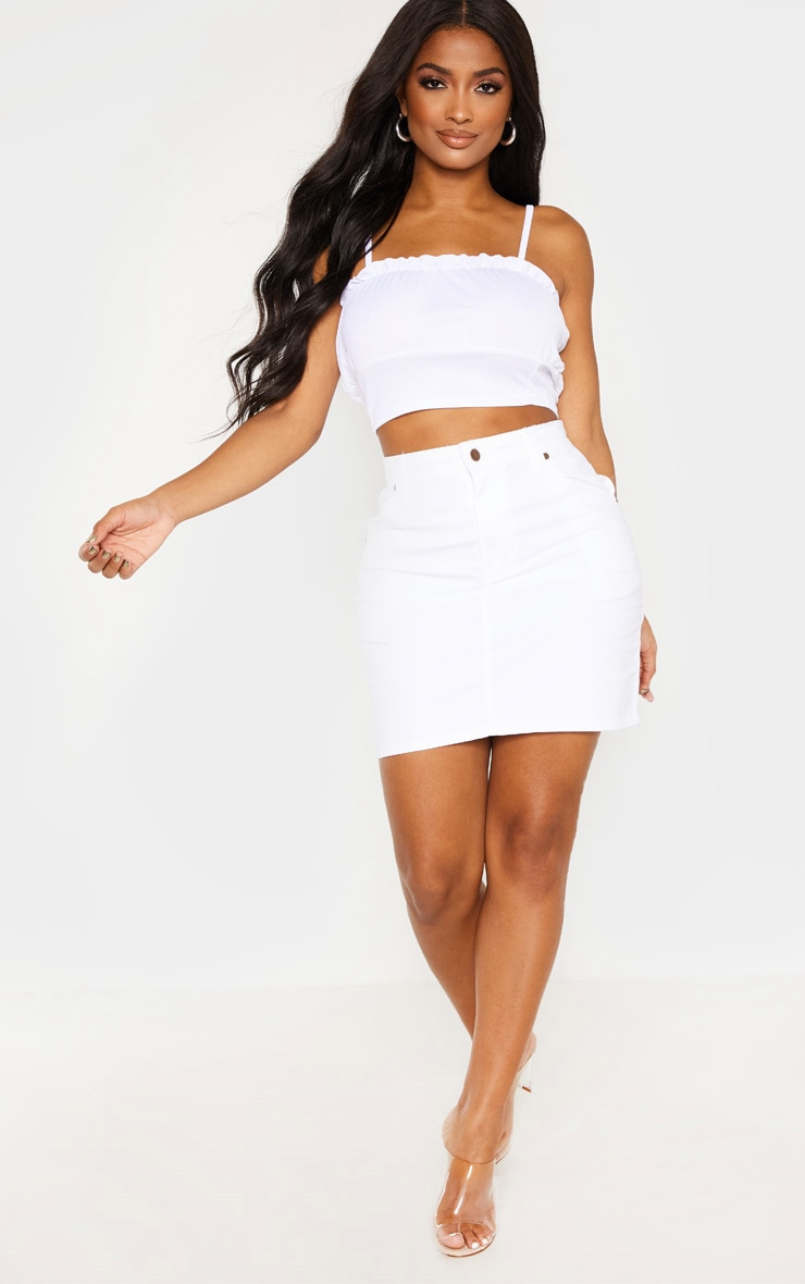 Shape White Denim Mini Skirt  5