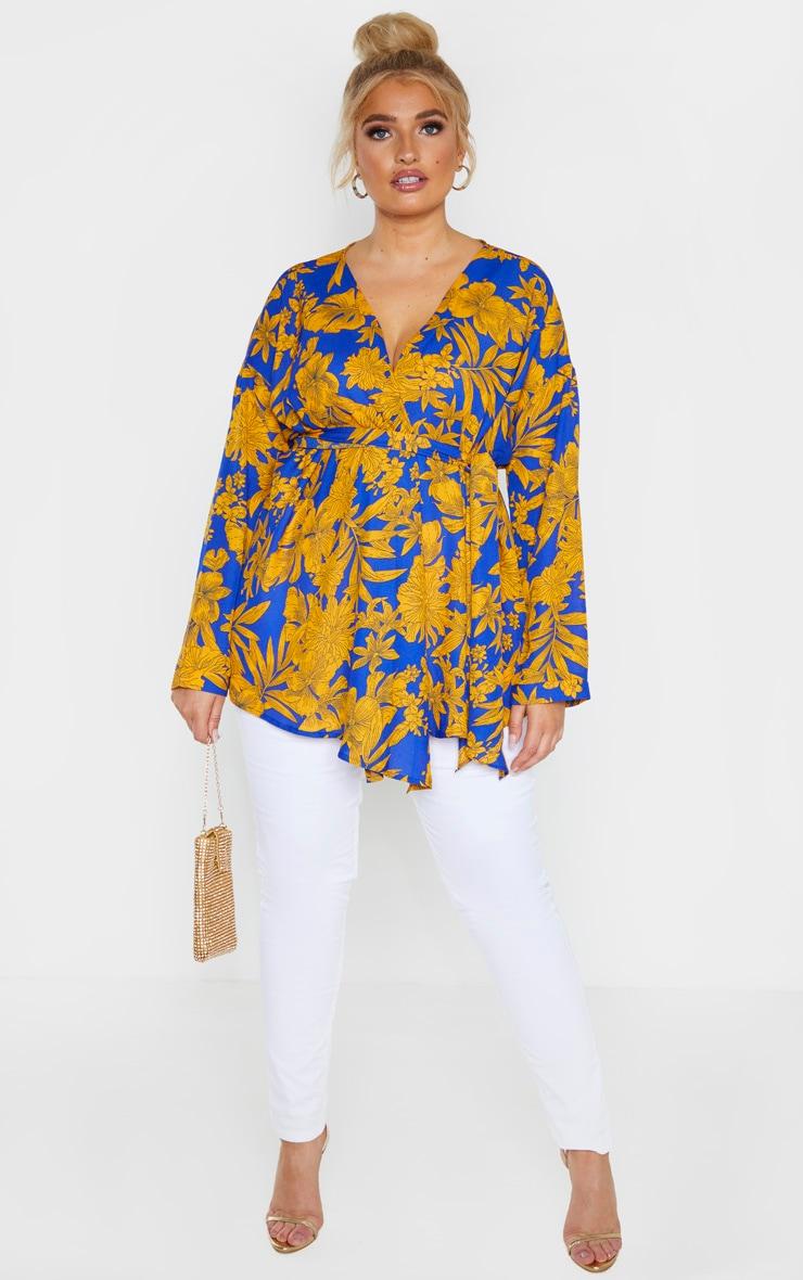 Plus Cobalt Tropical Print Woven Tie Waist Blouse  4