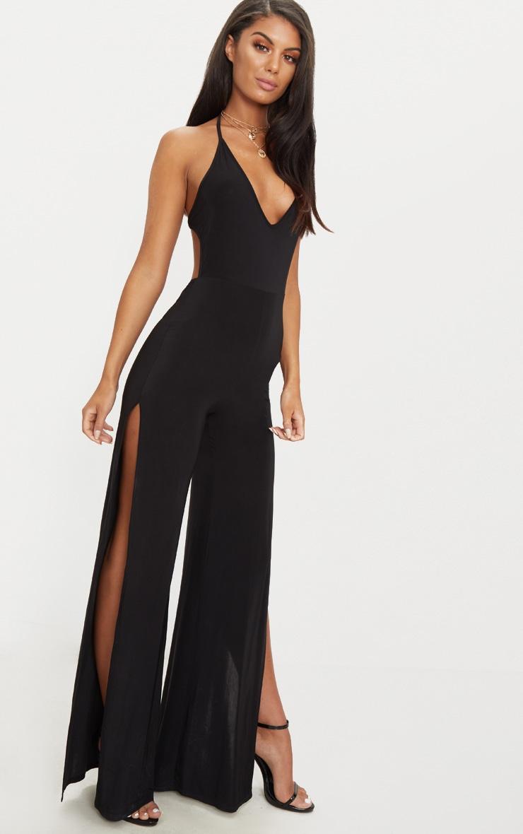 Black Slinky Side Split Jumpsuit 3