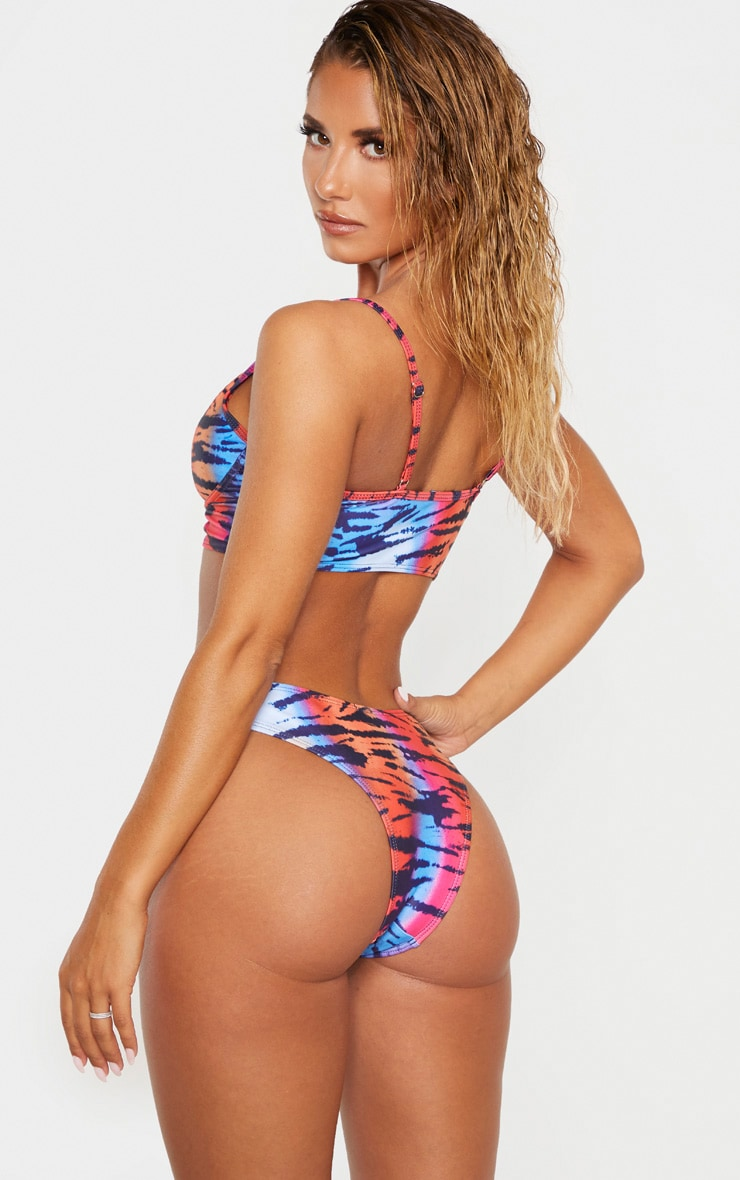 Multi Tiger Underwired Longline Bikini Top 2