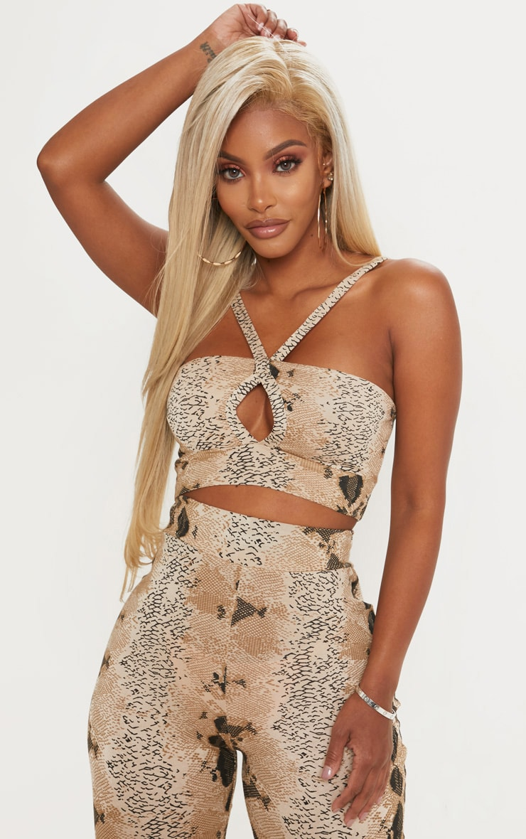 Shape Taupe Snake Print Strappy Crop Top 1