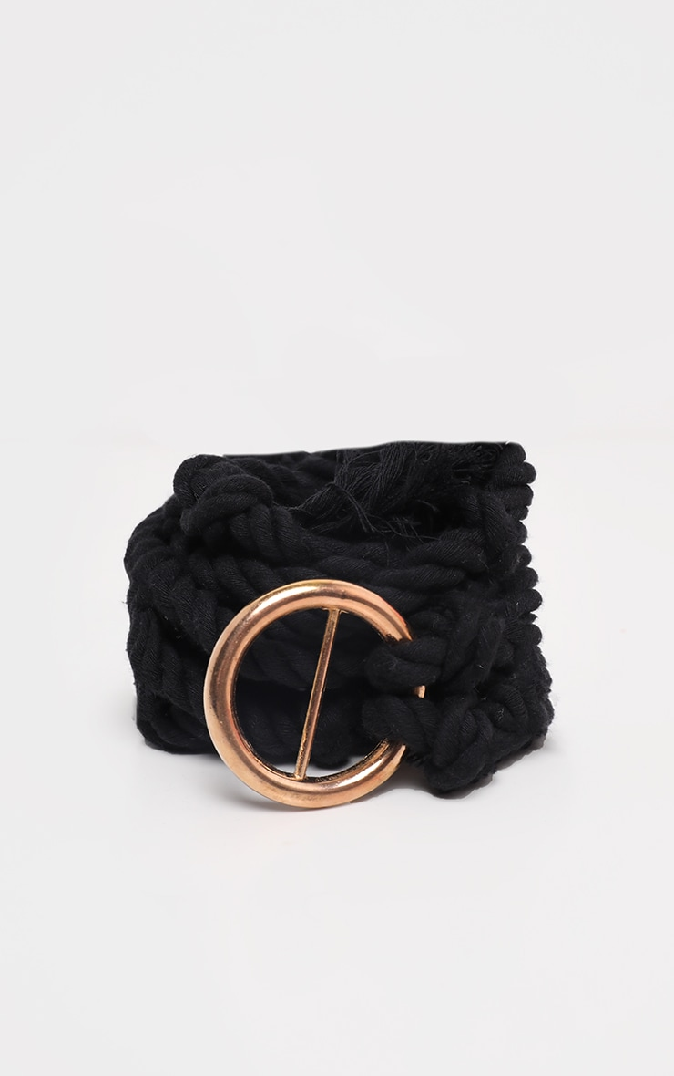 Black Rope Belt With Gold Trims 3