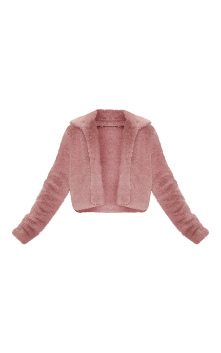 Rose Cropped Faux Fur Coat 3