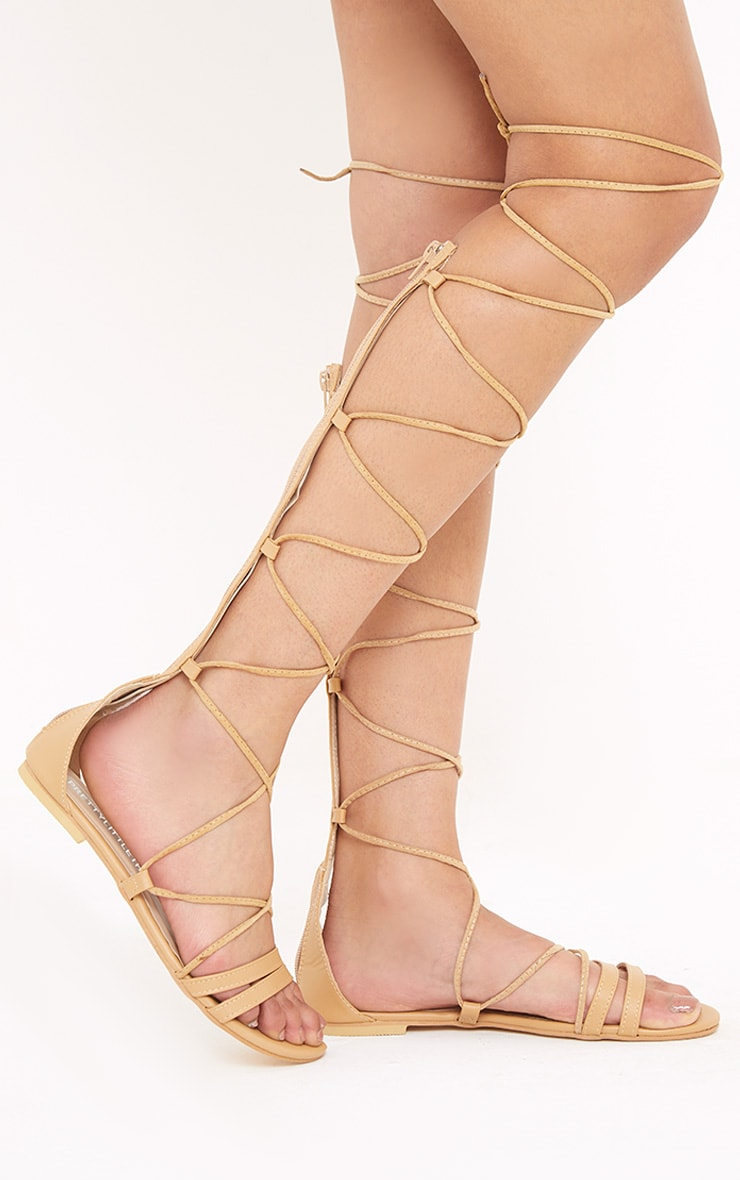 Lorna Nude Over The Knee Lace Up Sandals 1