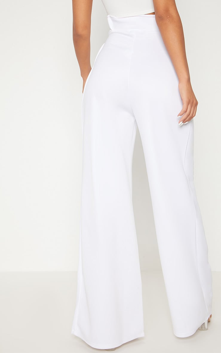 White Contrast Stitch Paper Bag Wide Leg Trouser 4