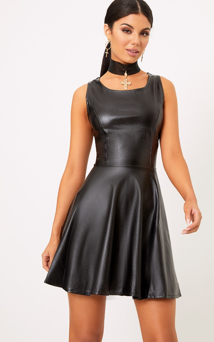 Black PU Skater Dress 1
