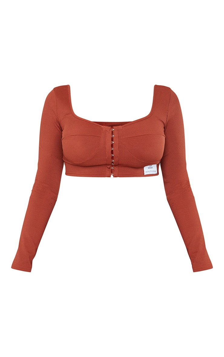 Shape Rust Rib Hook And Eye Cup Detail Crop Top 5