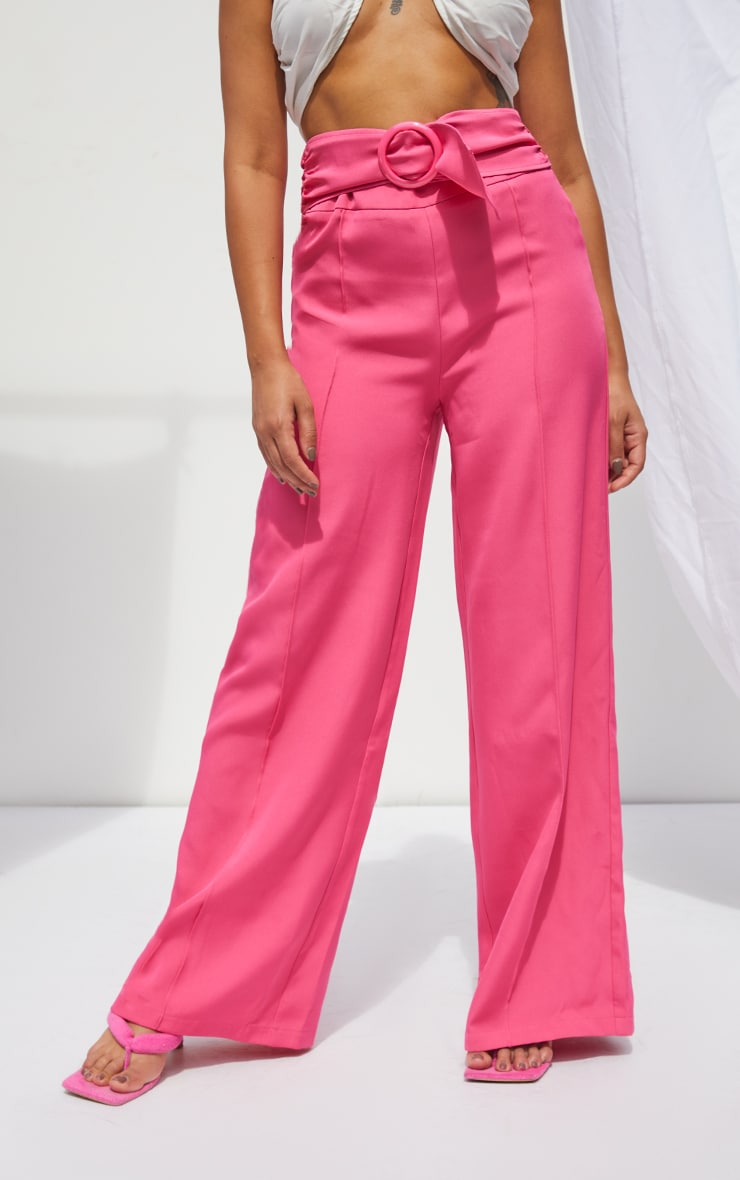 Petite Hot Pink Belted High Waisted Trousers 2