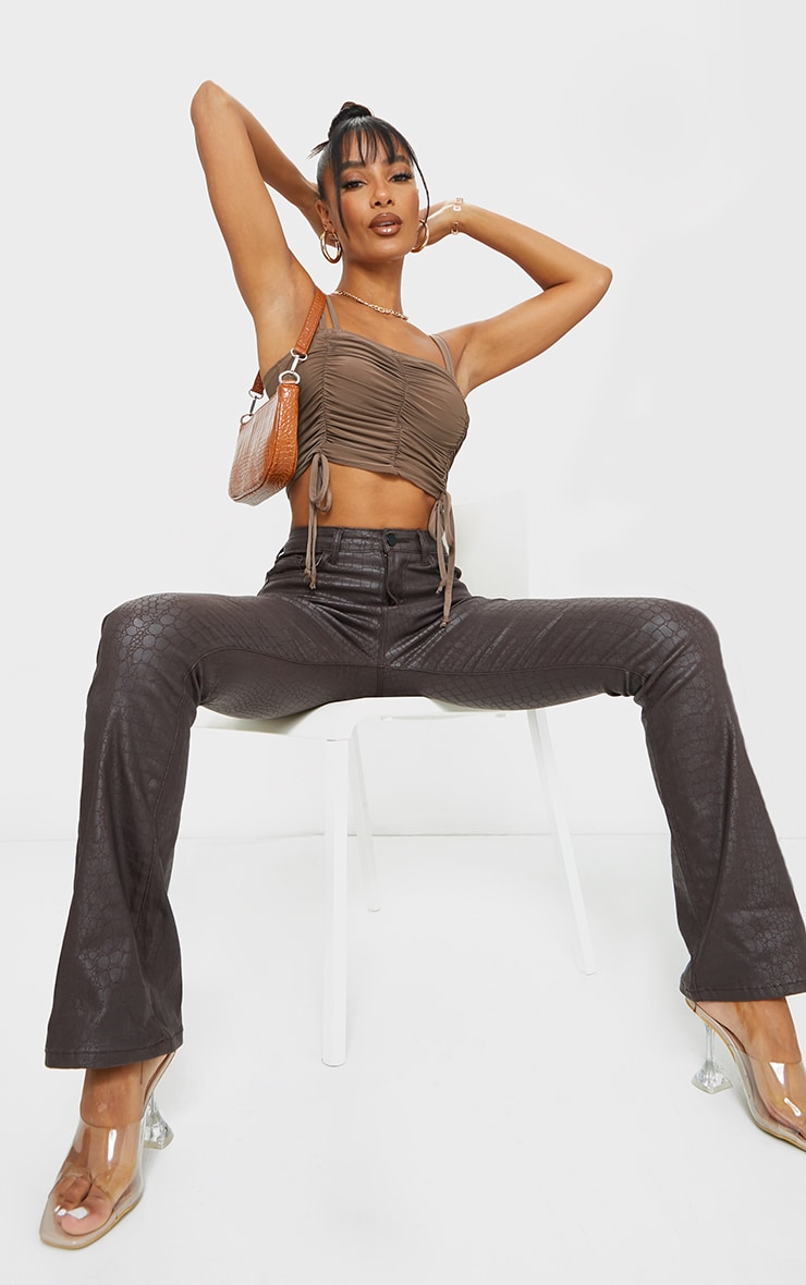 Chocolate Slinky Ruched Detail Strappy Crop Top 3