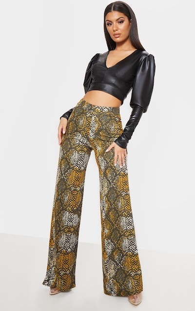 2c76aad1d0d Brown Snake Print Wide Leg Pants