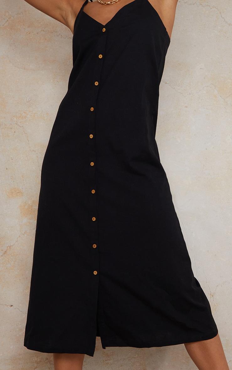 Black Linen Wooden Button Down Strappy Slip Maxi Dress 4