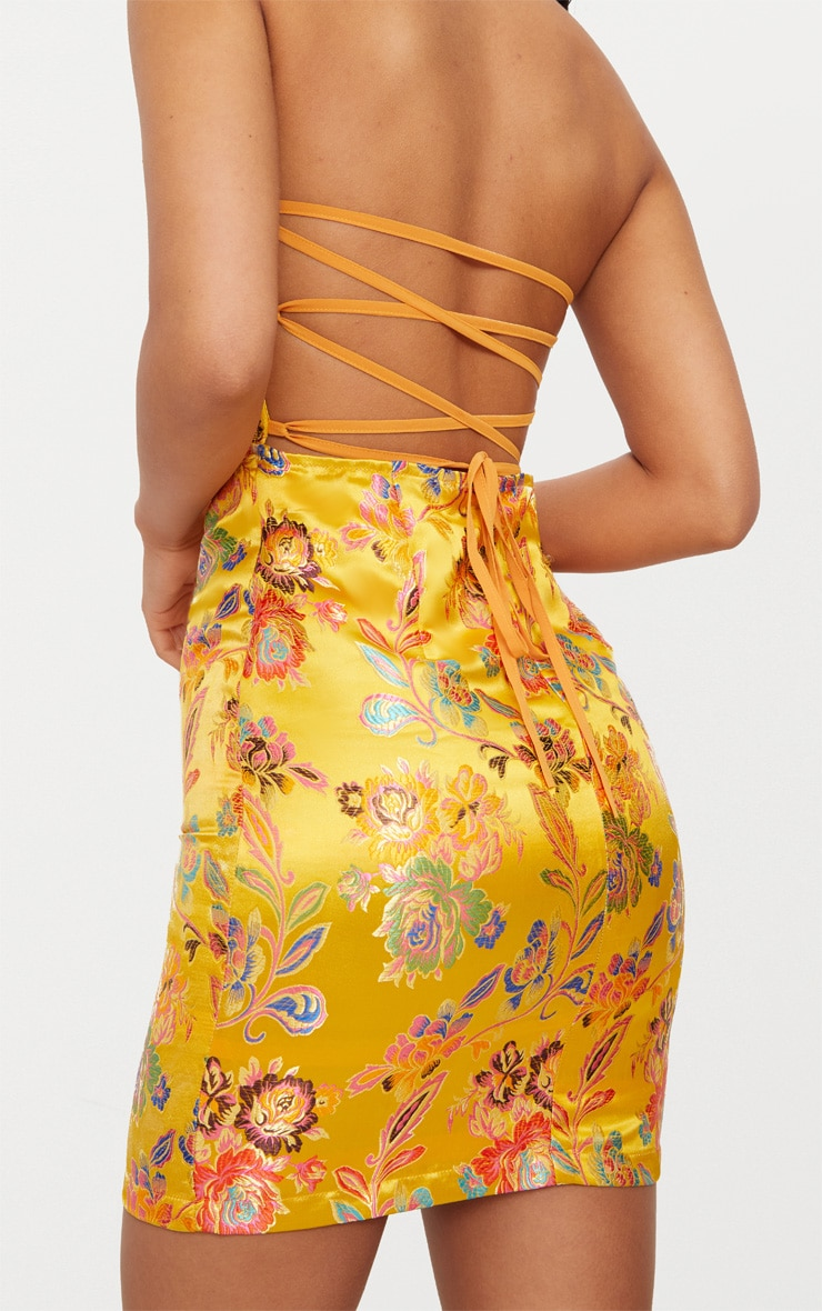 Mustard Oriental Satin Bandeau Lace Up Back Bodycon Dress  5