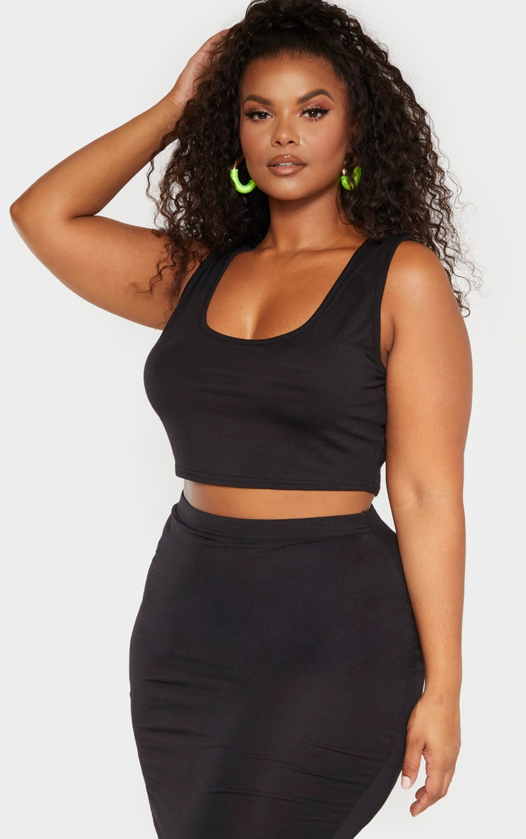 Plus Black Jersey Scoop Neck Crop Top  1