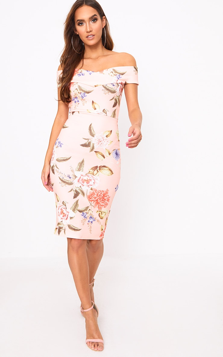 Peach Floral Bardot Midi Dress 4