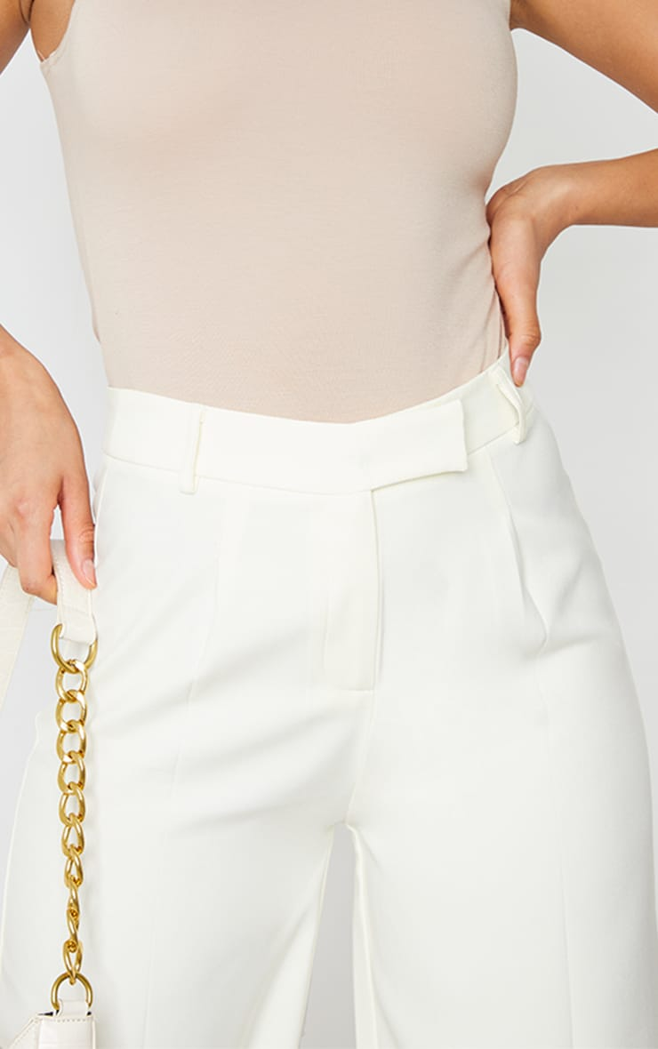 Cream Woven Tailored Wide Leg Trousers 4