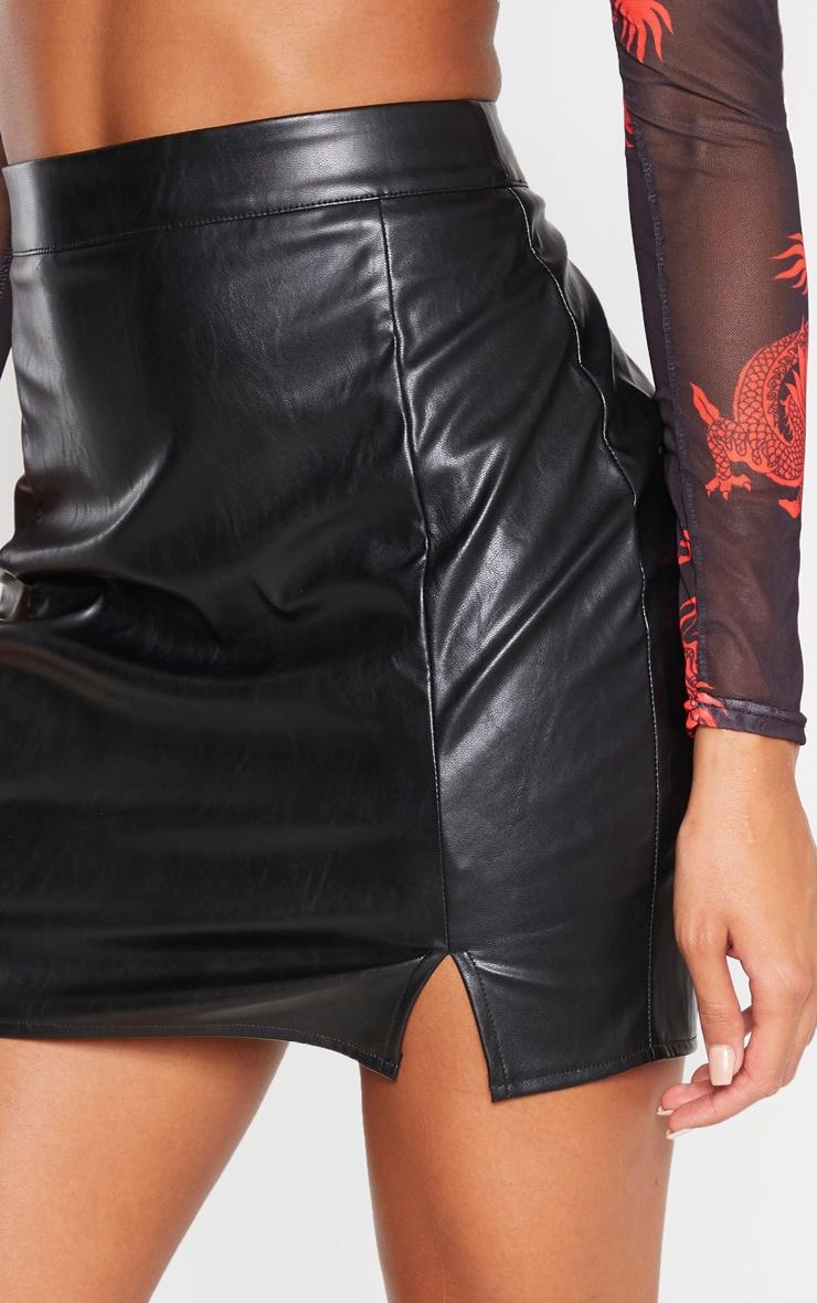 Black Faux Leather Split Mini Skirt 6
