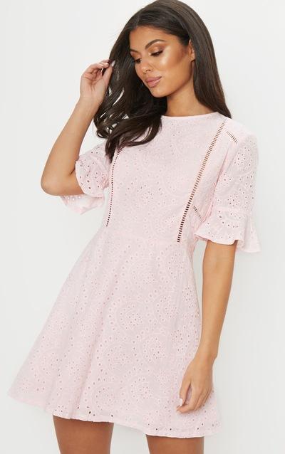 bf48eba6da20 Pink Broderie Anglaise Frill Sleeve Skater Dress