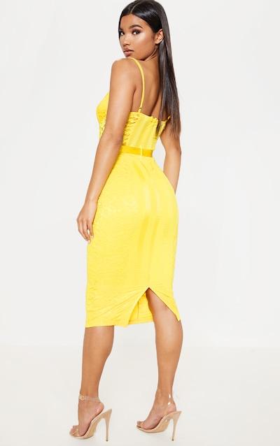 Yellow Lace Lined Midi Dress
