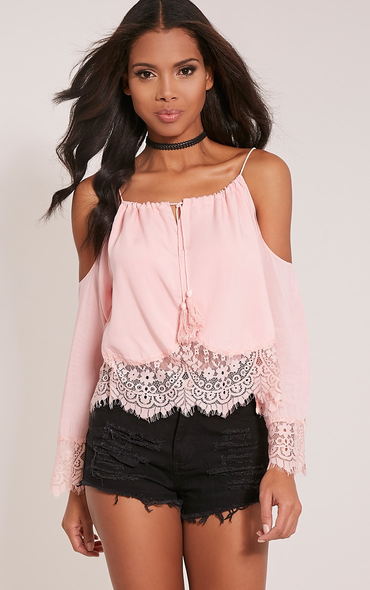 Josette Pink Cold Shoulder Lace Trim Crop Top 1