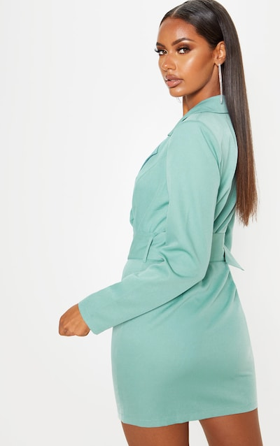 Dusty Turquoise Ring Belt Blazer Style Dress