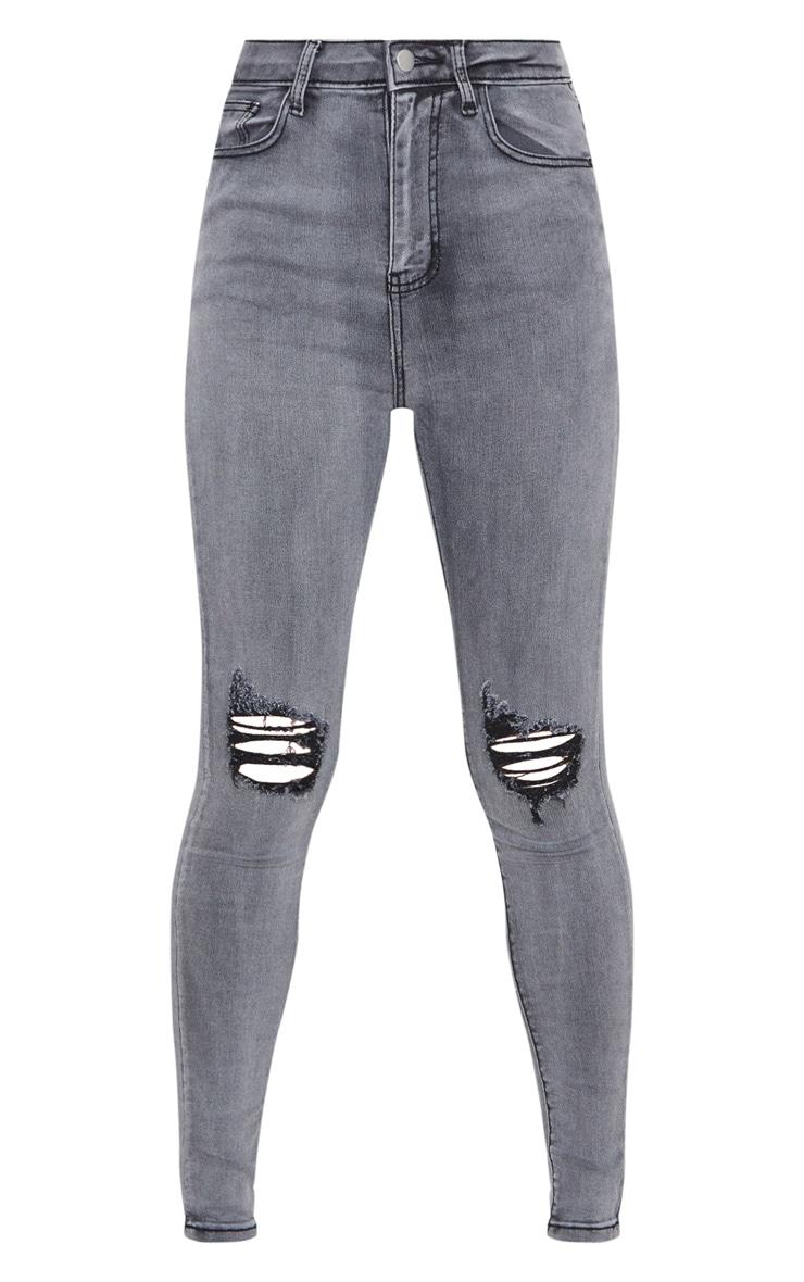 PRETTYLITTLETHING Grey 5 Pocket Knee Rip Skinny Jeans 6