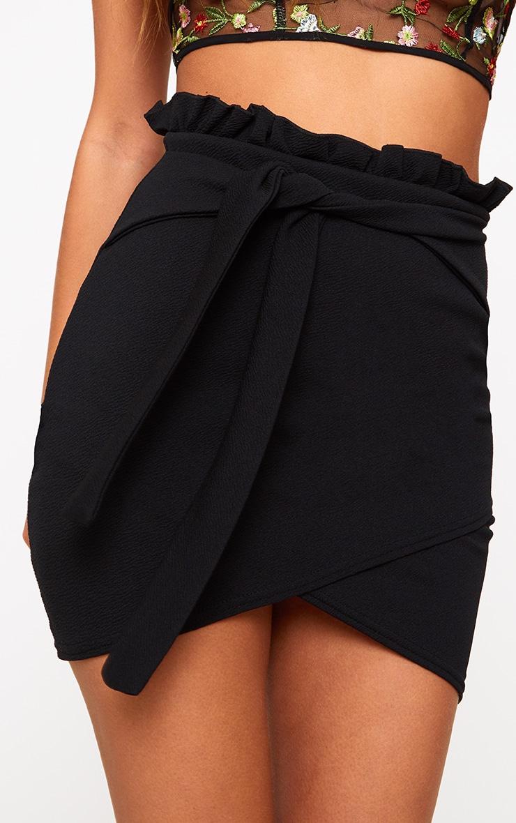 Black Paperbag Waist Wrap Hem Mini Skirt 6