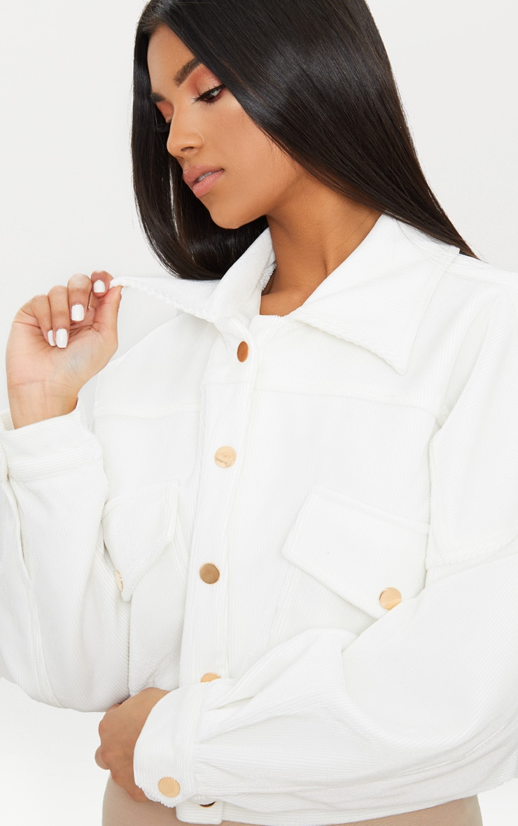 White Cord Oversized Trucker Jacket 5