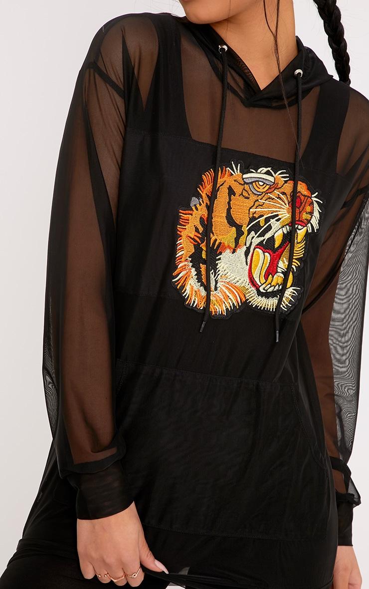 Luna Black Mesh Tiger Applique Oversized Hoodie 5