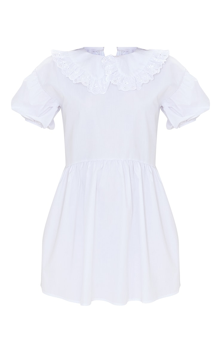 White Embroidered Frill Collar Short Puff Sleeve Smock Dress 5