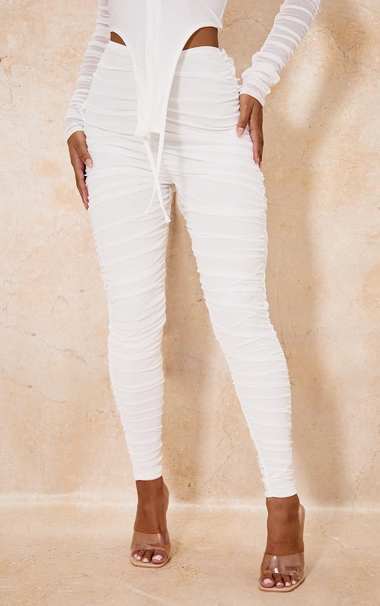 White Mesh Layered Ruched Leggings 2