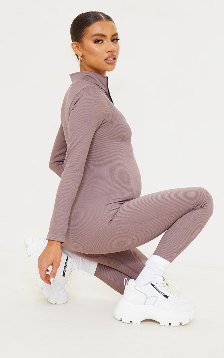 Maternity Mauve Contour Ribbed Jumpsuit 2