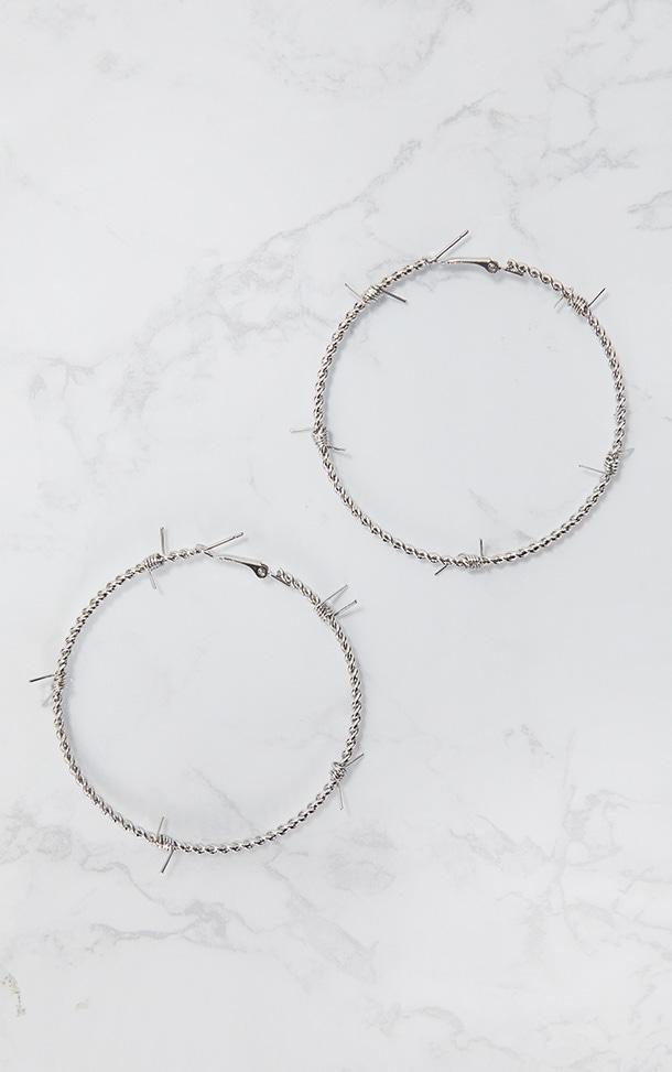 Silver Barbed Wire Hoop Earrings 3