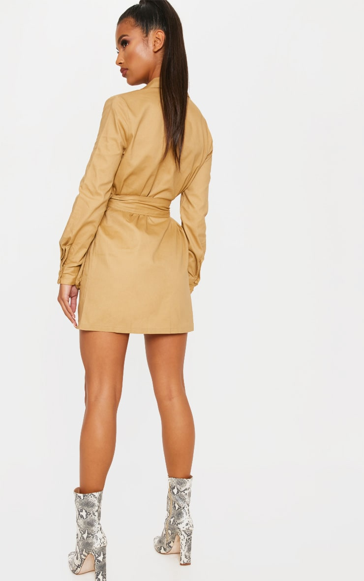 Camel Utility Tie Waist Shirt Dress 2