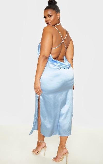 Plus Light Blue Spaghetti Strap Satin Midi Dress