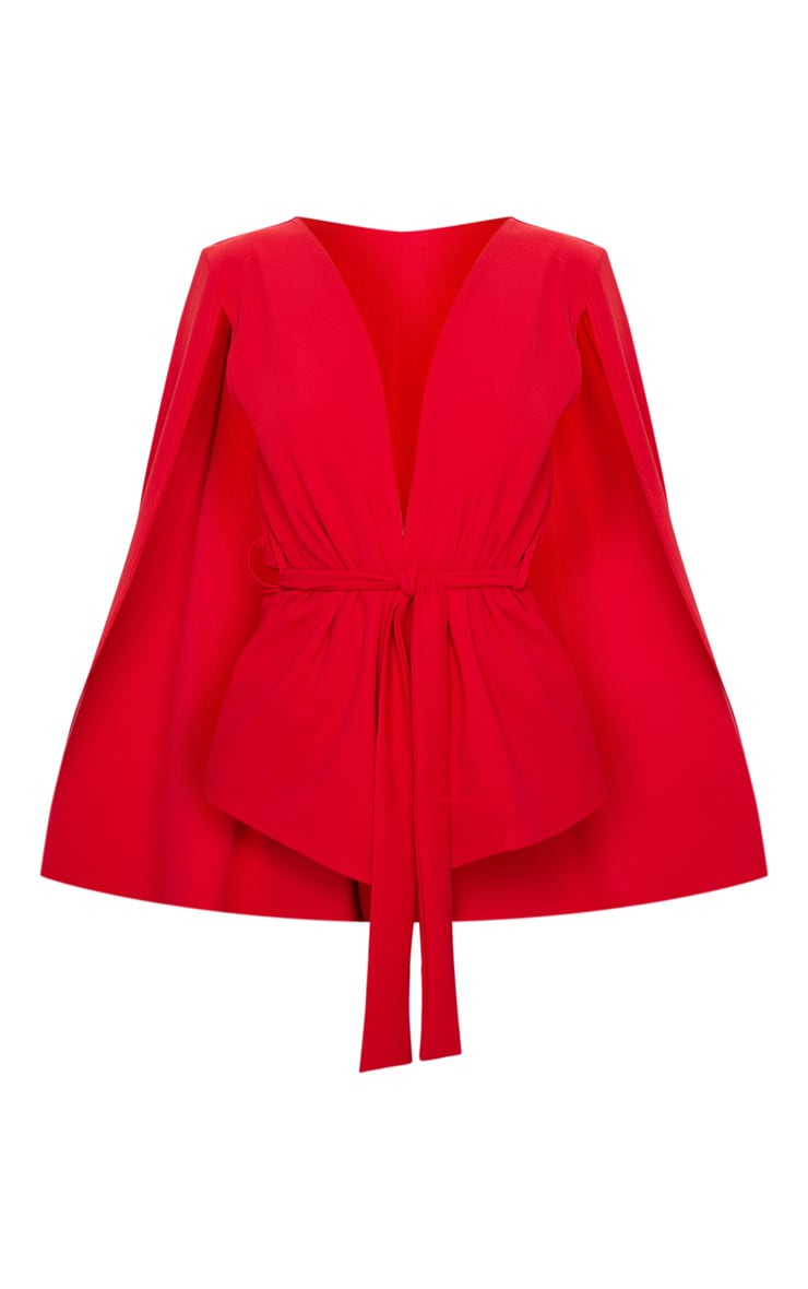 Red Crepe Belted Cape Blazer 3