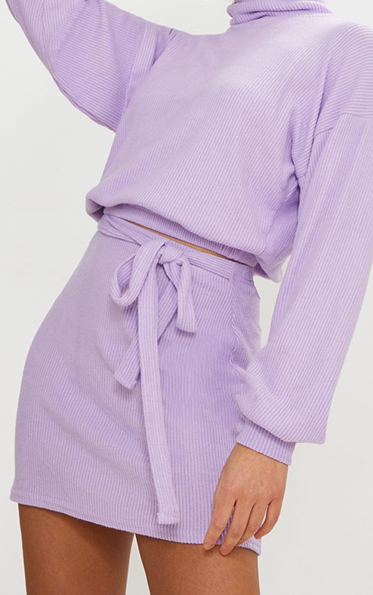 Lilac Brushed Rib Roll Neck Elastic Hem Sweater 4