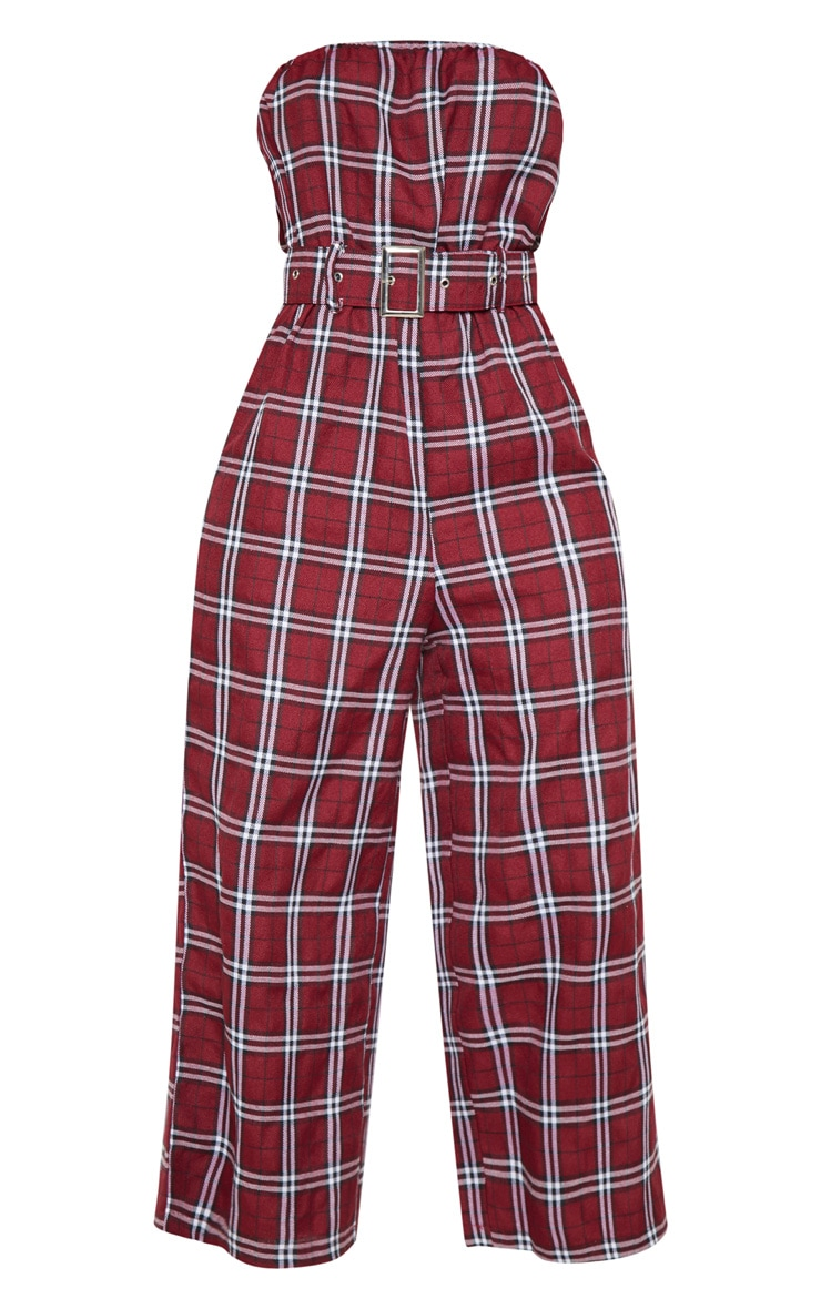 Dark Red Checked Belted Culotte Jumpsuit 3