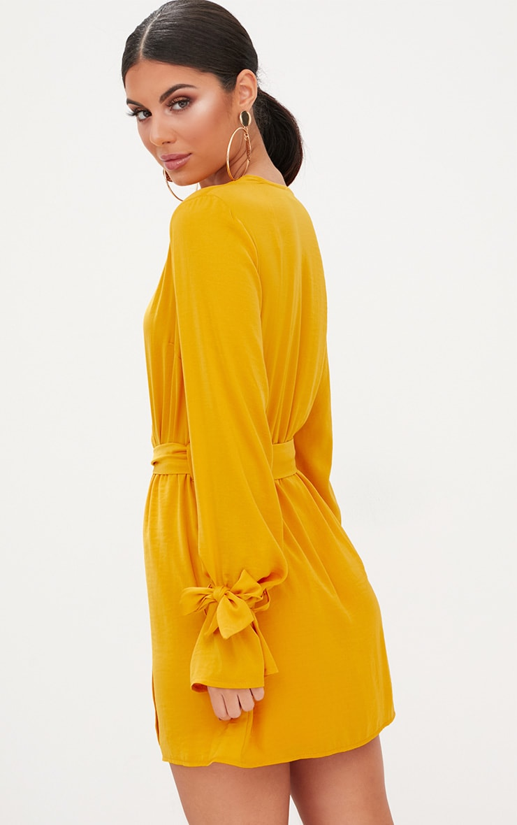 Mustard Satin Wrap Cuff Detail Shift Dress 2